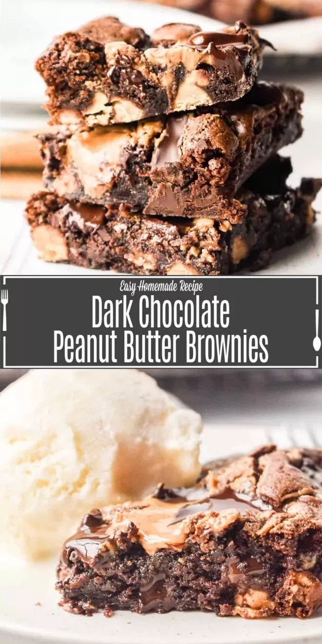 Pinterest image for Dark Chocolate Peanut Butter Brownies with title text