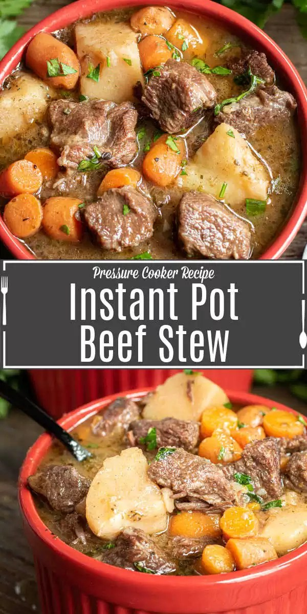 Pinterest image of Instant Pot Beef Stew with title text