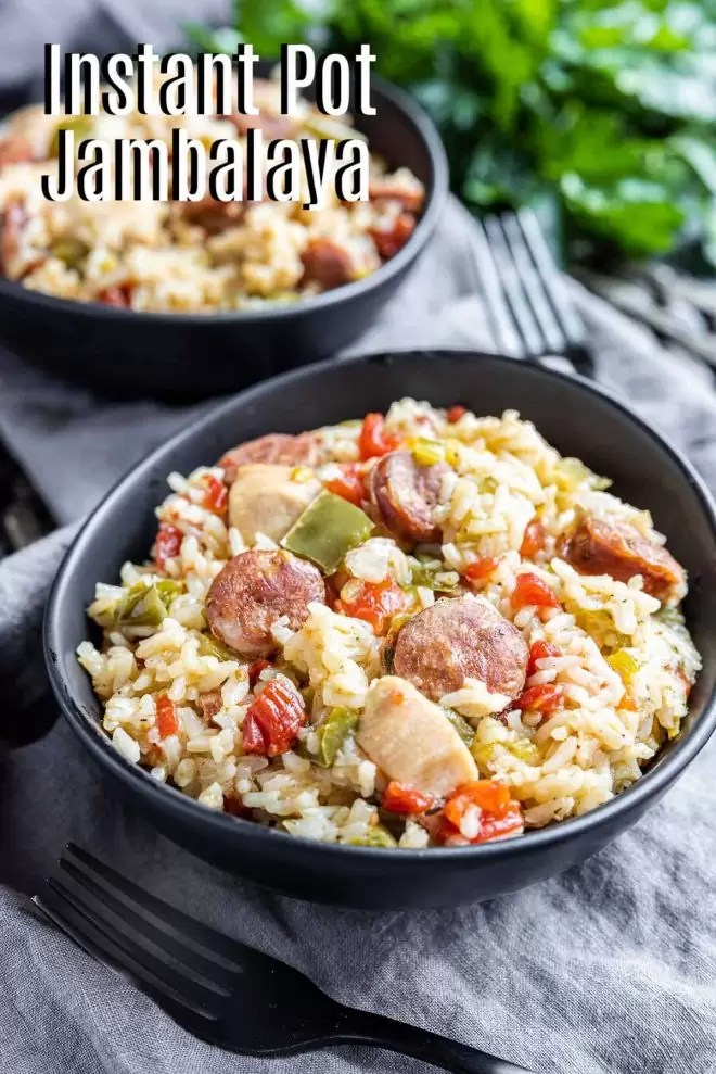 Pinterest image of Instant Pot Jambalaya with title text
