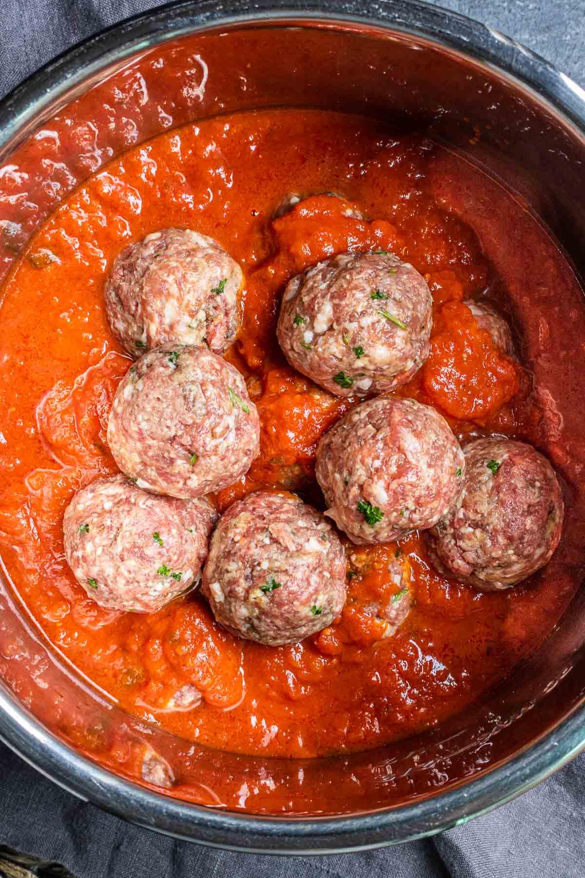 Instant Pot Meatballs in Instant Post basket