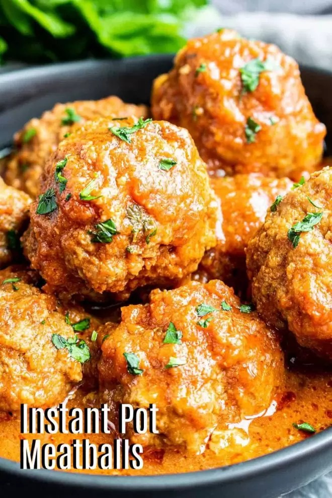 Pinterest image for Instant Pot Meatballs with title text
