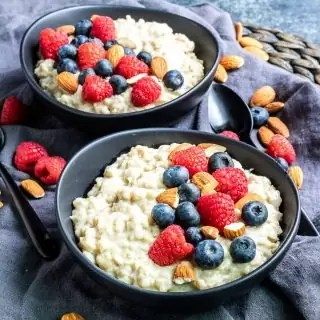 Instant pot oatmeal topped with fresh berries