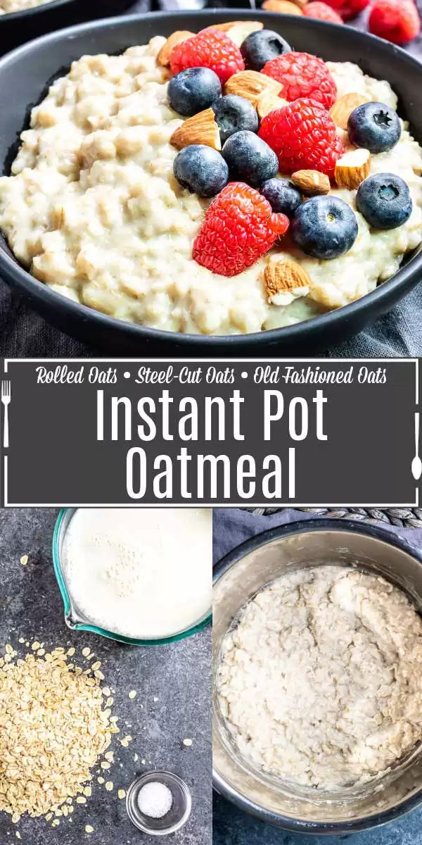 Pinterest image for Instant Pot Oatmeal with title text