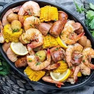 Instant Pot Shrimp Boil in a platter