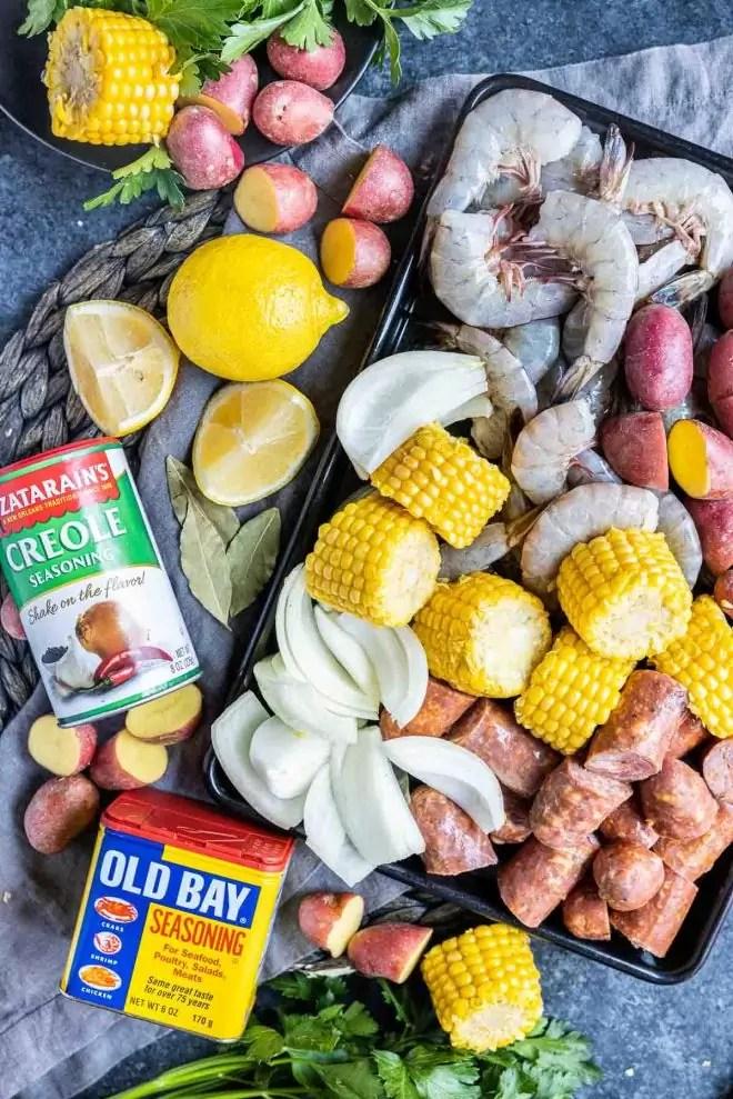 ingredients for a Instant Pot Shrimp Boil