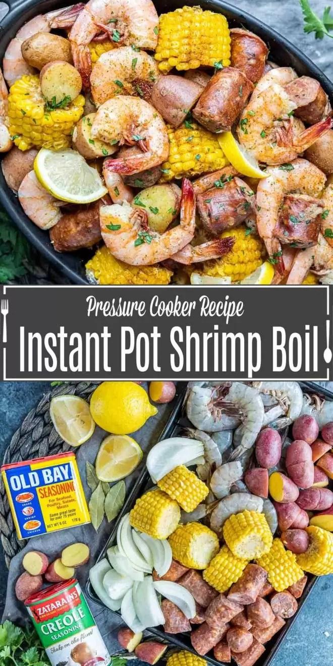 Pinterest image for Instant Pot Shrimp Boil with title text