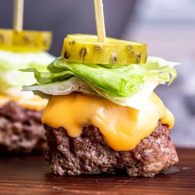 Keto Big Mac Bites served appetizer