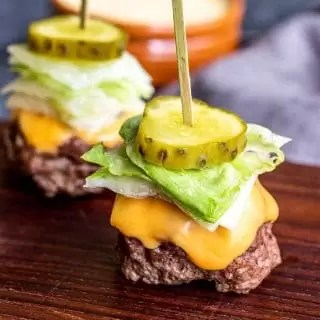 Keto Big Mac Bites with lettuce, cheese and pickle
