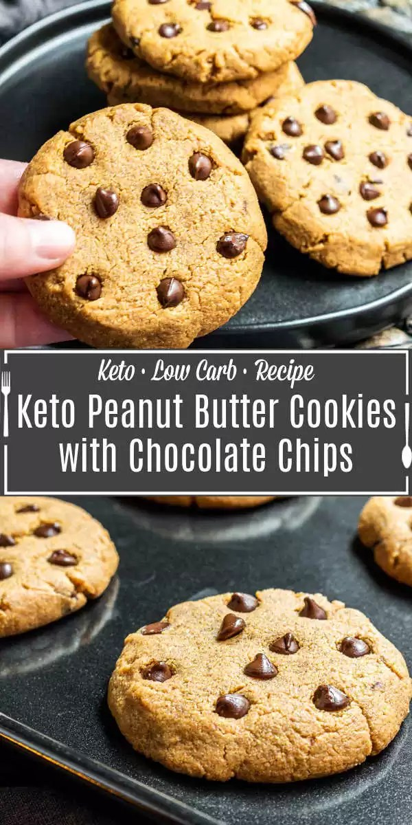 Pinterest image for Keto Peanut Butter Cookies with Chocolate Chips with title text