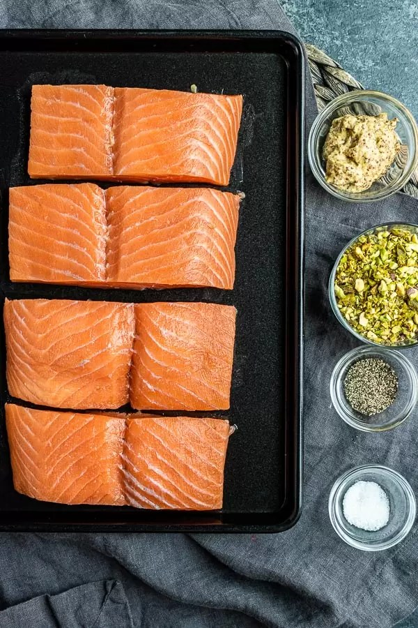 Ingredients for Pistachio crusted salmon