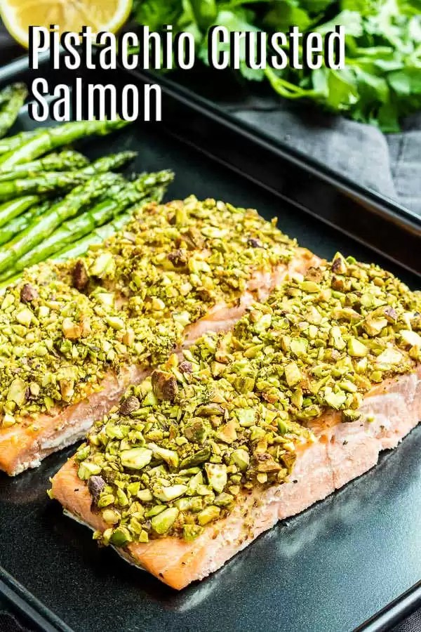 Pinterest image for Pistachio Crusted Salmon with title text
