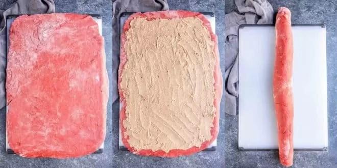 rolling out dough for Red Velvet Cinnamon Rolls