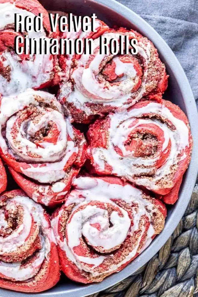 Pinterst image of Red Velvet Cinnamon Rolls with title text
