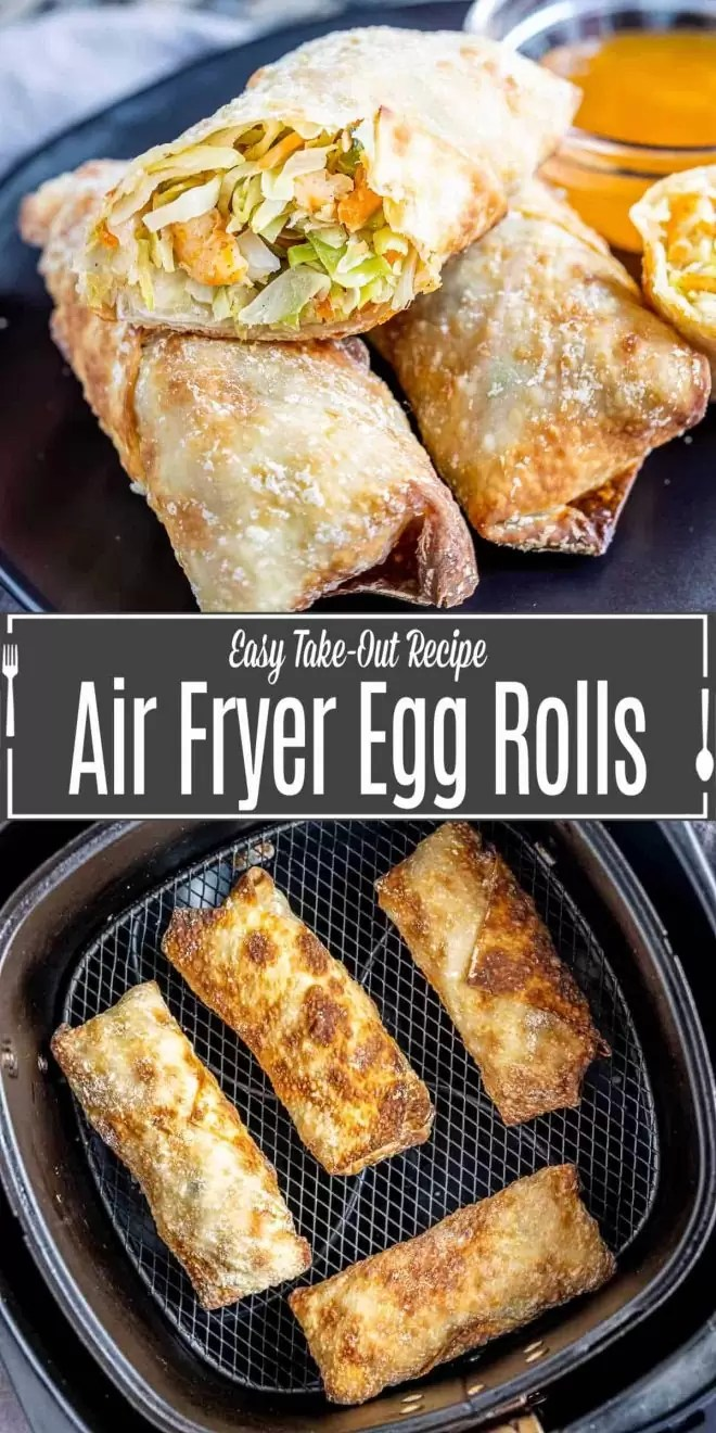 Pinterest image of Air Fryer Egg Rolls with title text