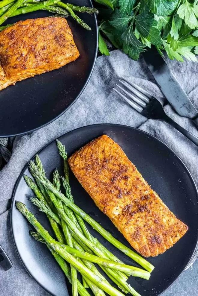 Air Fryer Salmon with asparagus on a plate