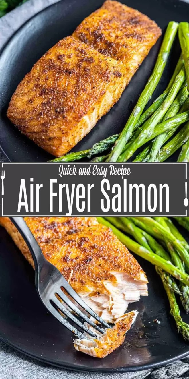 Pinterest image of Air Fryer Salmon with title text