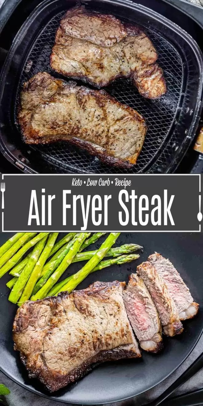 Pinterest image for Air Fryer Steak with title text