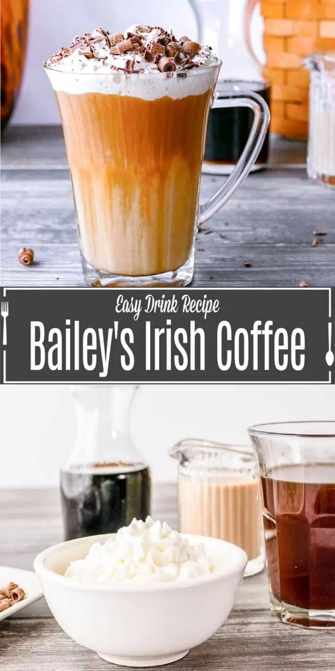 Pinterest image for Bailey's Irish Coffee with title text