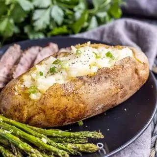 Instant Pot Baked Potatoes on a plate