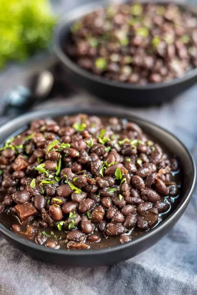 Instant Pot Black Beans in a black bowl