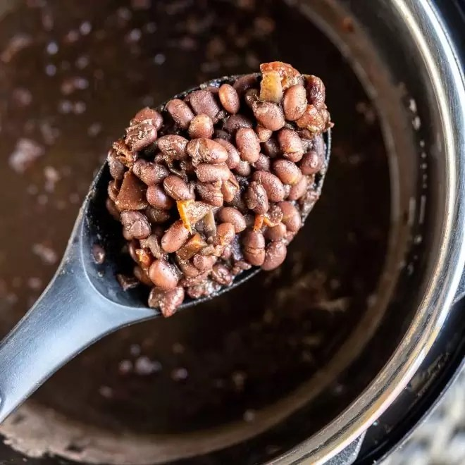spoonful of Instant Pot Black Beans