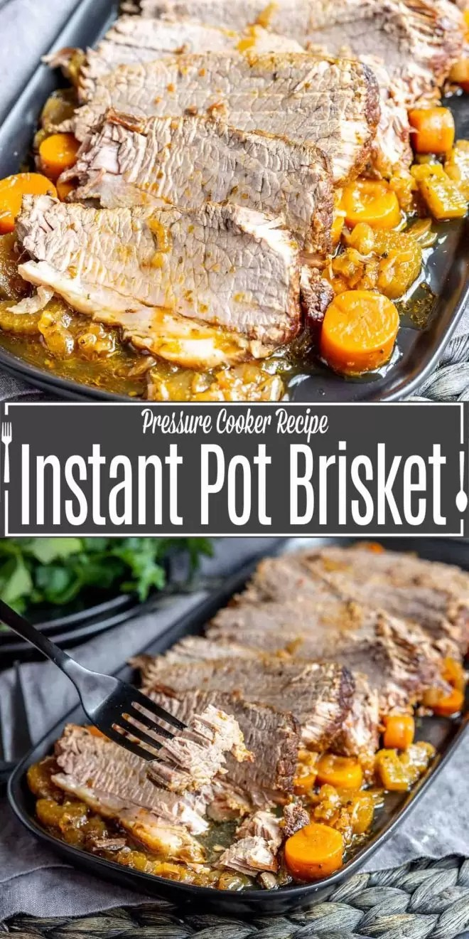 Pinterest image for Instant Pot Brisket with title text