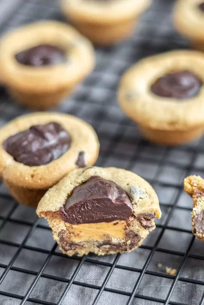 Cookie Cups layered with peanut butter and chocolate