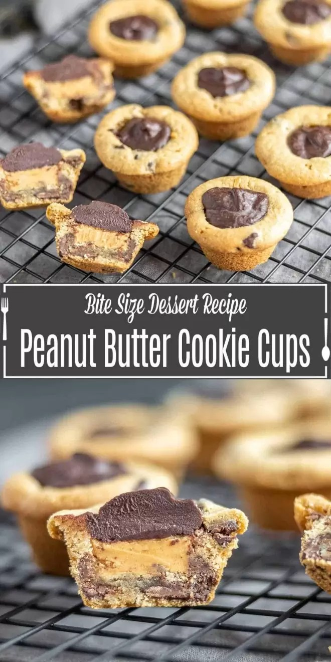 Pinterest image for Peanut Butter Cookie Cups with title text