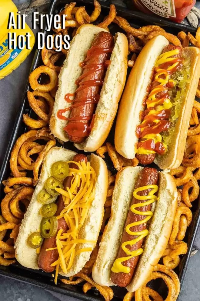 PInterest image of Air Fryer Hot Dogs with title text