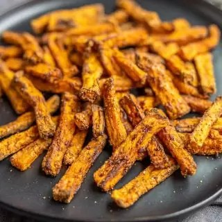 plate with Air Fryer Sweet Potato Fries