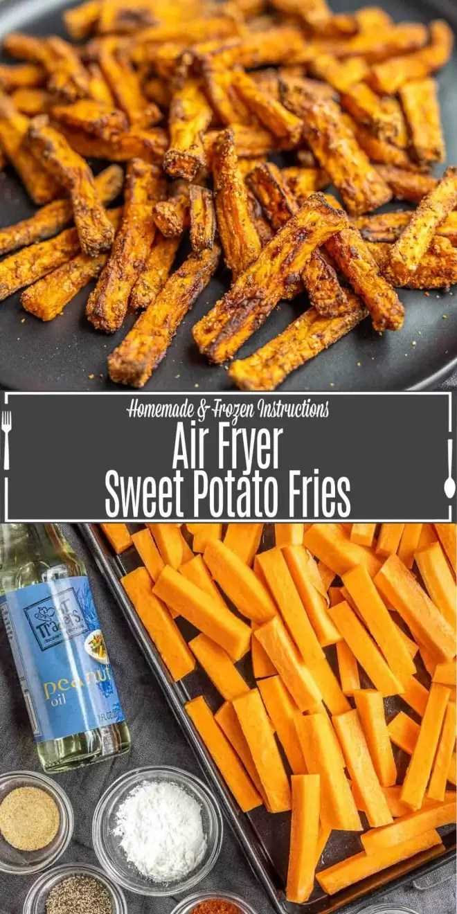 Pinterest image of Air Fryer Sweet Potato Fries with title text