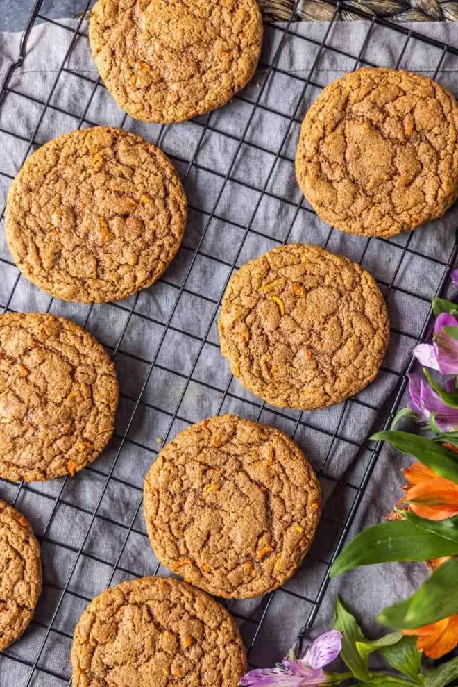cooling Carrot Cake Mix Cookies on cookie cooling rack