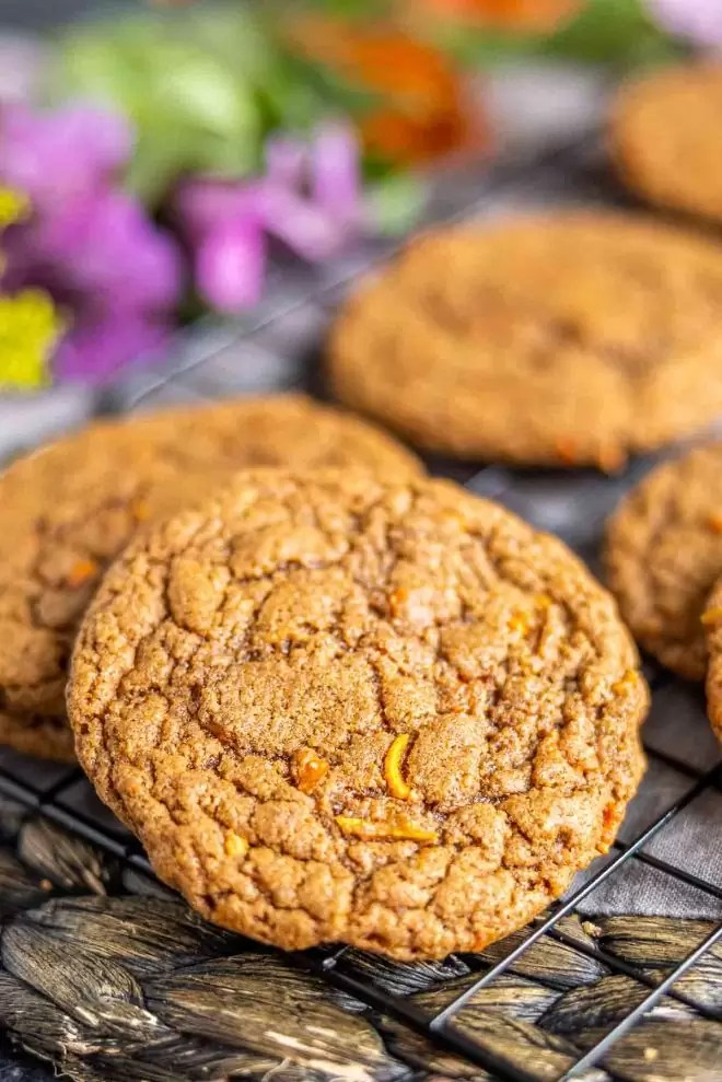 Carrot Cake Mix Cookies on cookie rack