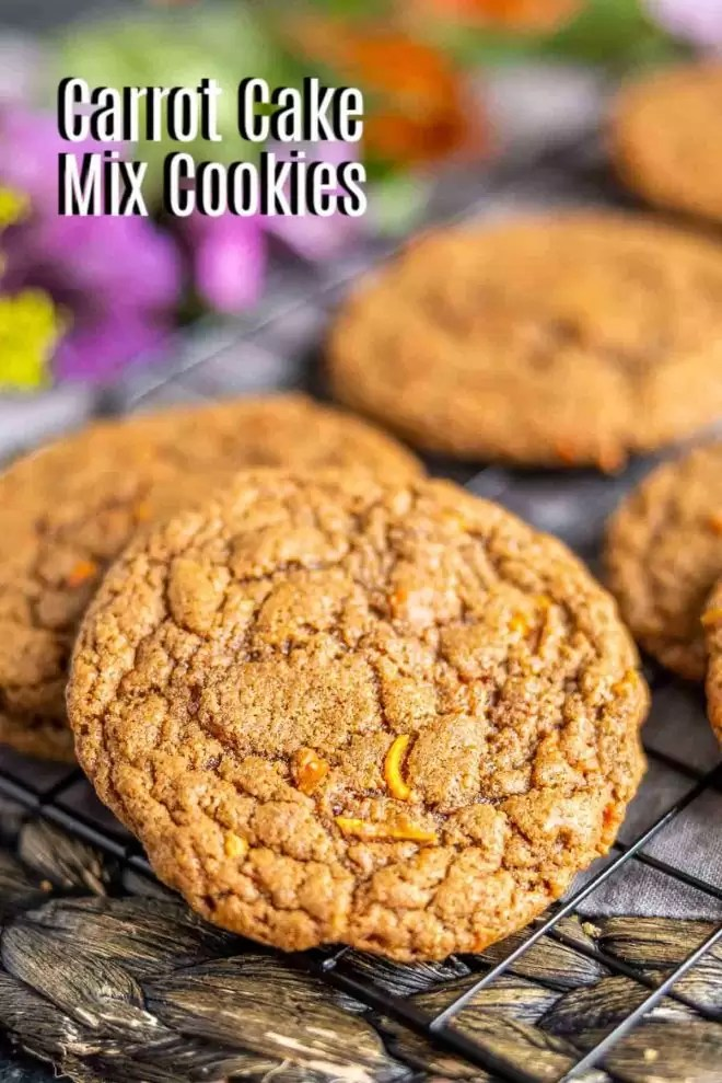 Pinterest image of Carrot Cake Mix Cookies with title text