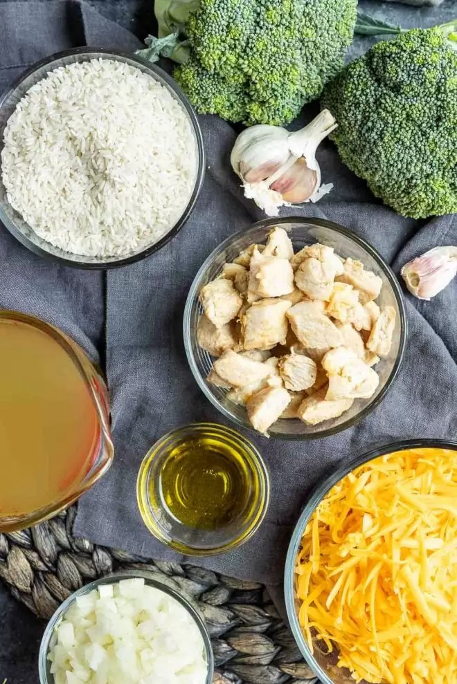 ingredients for Cheesy Instant Pot Chicken and Rice