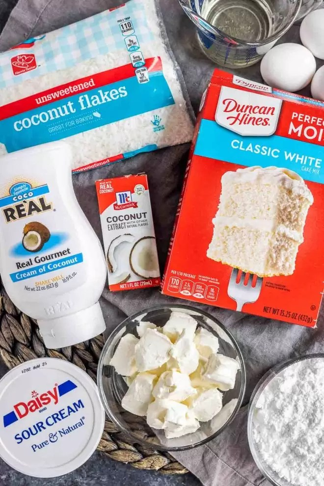 ingredients for Coconut Sheet Cake