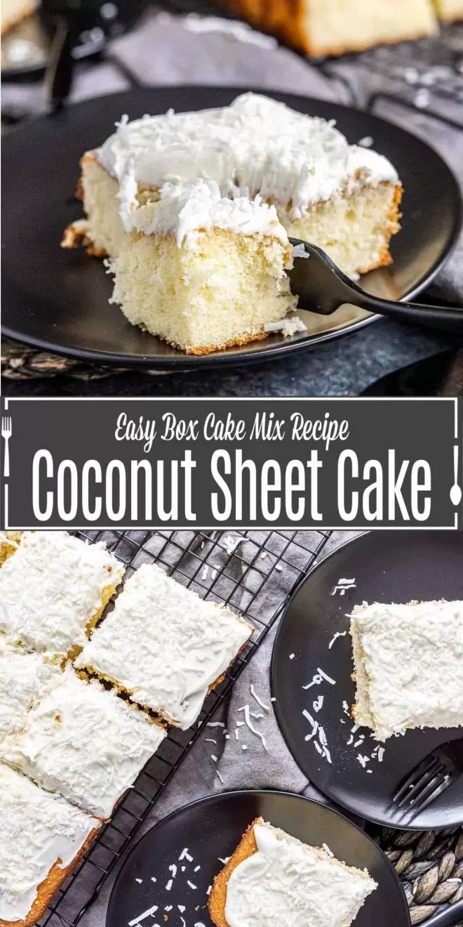 Pinterest image for Coconut Sheet Cake with title text