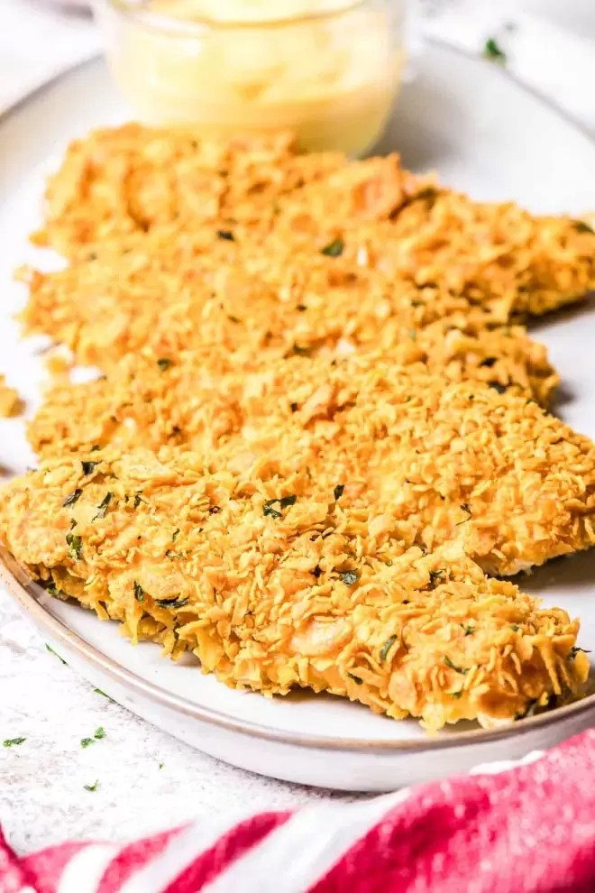 Cornflake Chicken tender on a plate