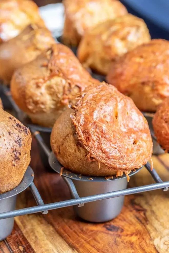 Garlic Parmesan Popovers in pan
