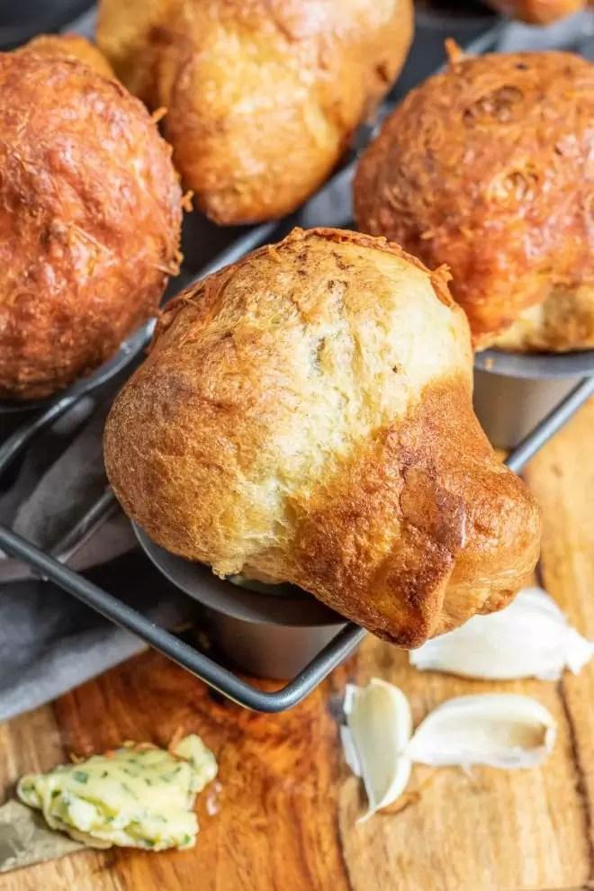 Garlic Parmesan Popovers sideways