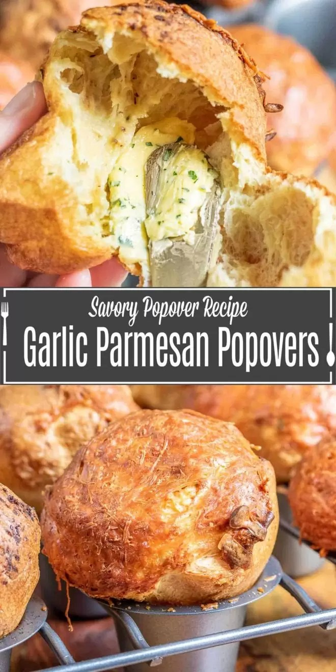 Pinterest image for Garlic Parmesan Popovers with title text