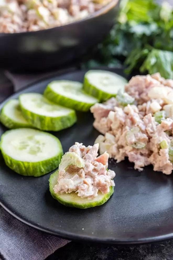 cucumber slice with Ham Salad on it