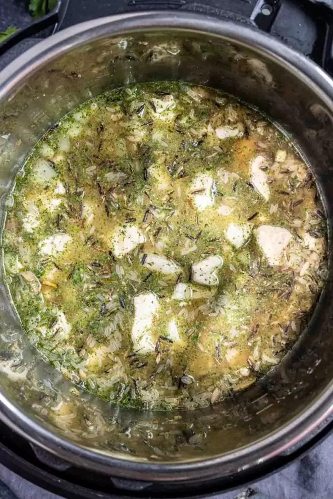 Instant Pot Cream of Mushroom Chicken and Wild Rice made in less than 30 minutes