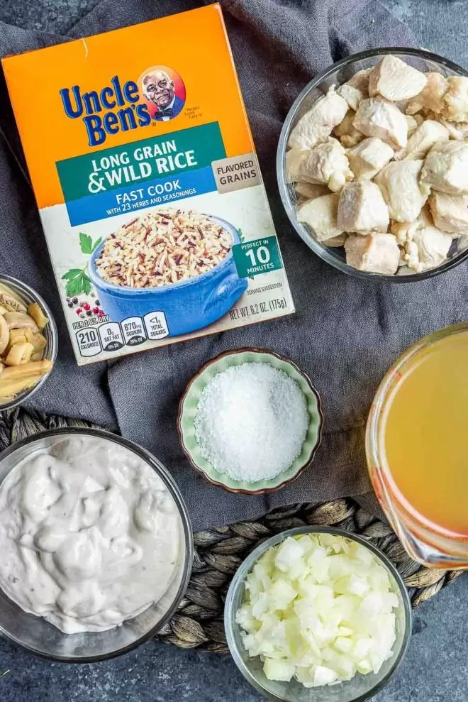 ingredients to make Instant Pot Cream of Mushroom Chicken and Wild Rice
