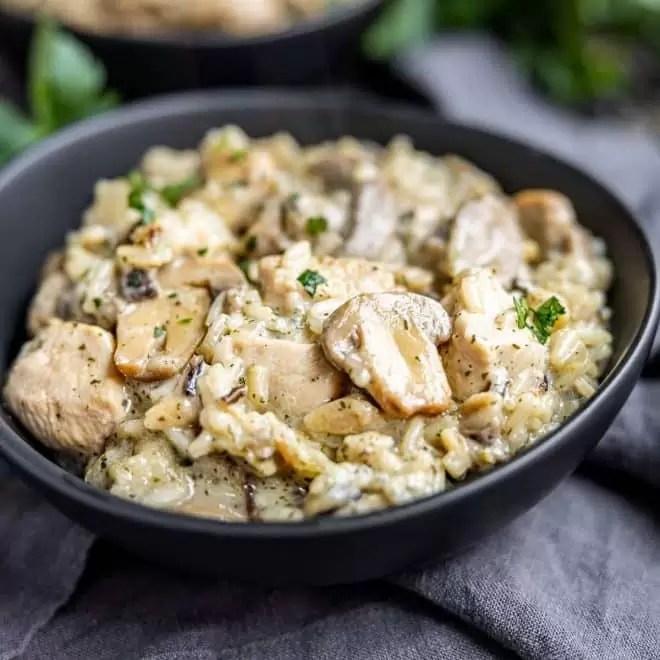 bowl of Instant Pot Cream of Mushroom Chicken and Wild Rice
