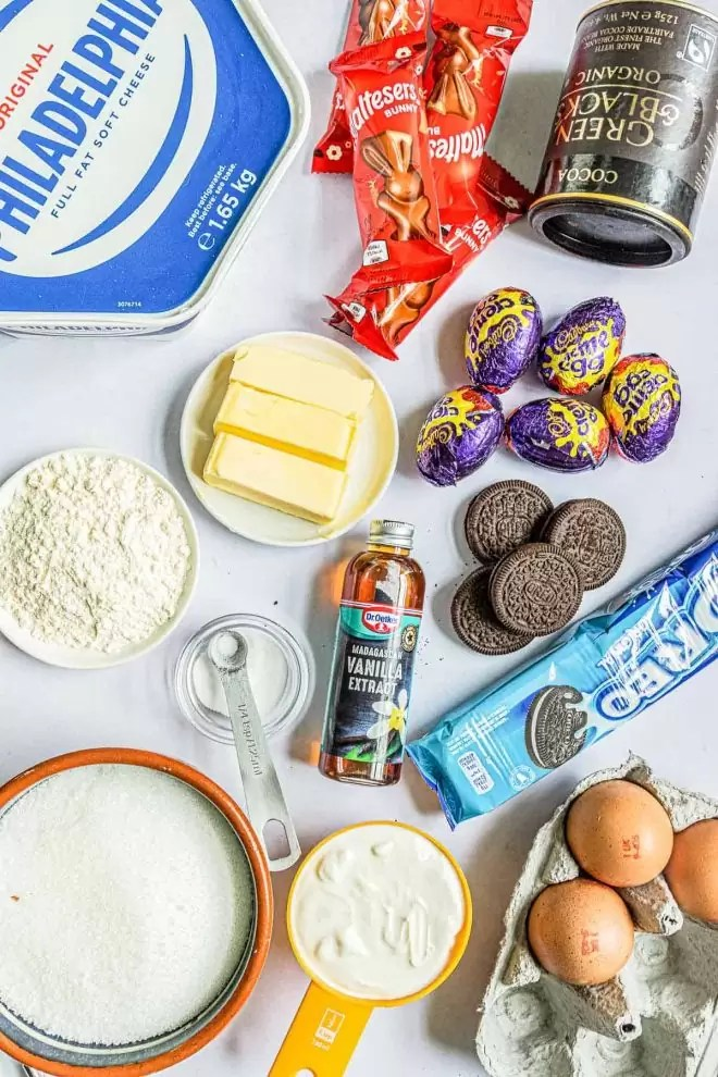 ingredients to make Instant Pot Easter Cheesecake