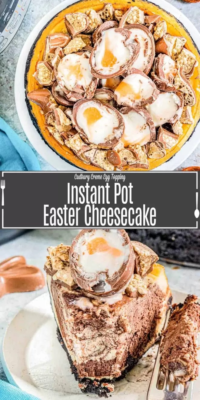 Pinterest image for Instant Pot Easter Egg Cheesecake with title text