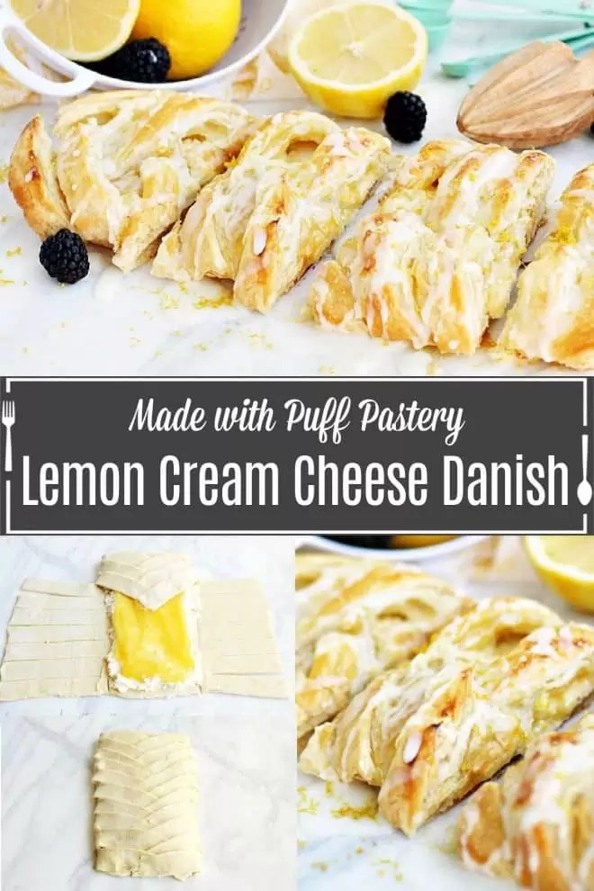 Pinterest image for Lemon Cream Cheese Danish with title text