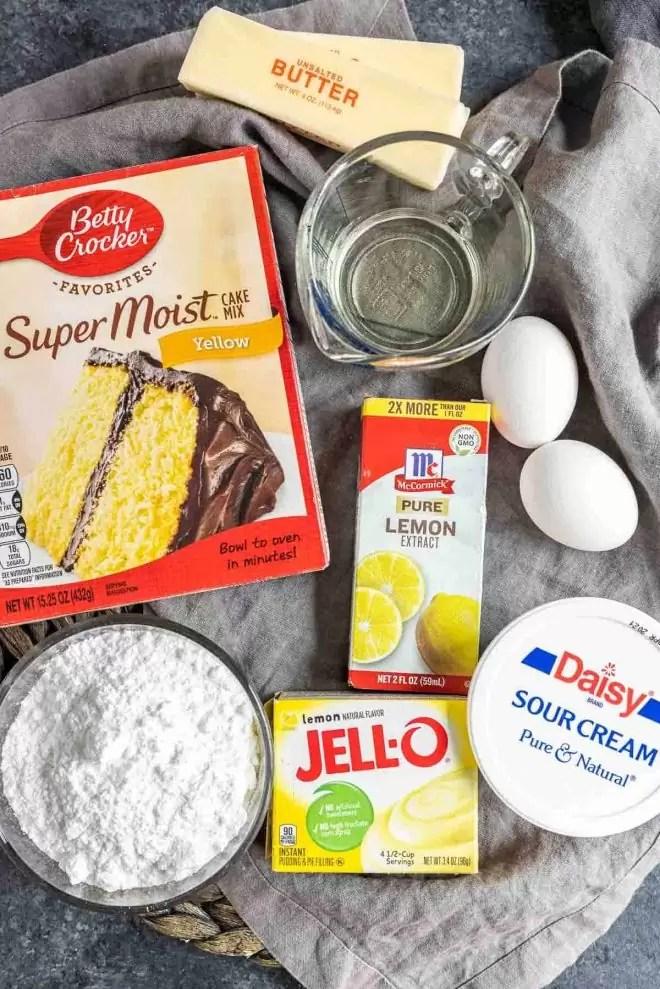 Ingredients used to make lemon cupcakes