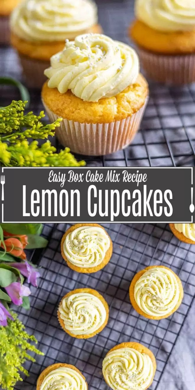 Pinterest image for Lemon Cupcakes with Lemon Buttercream Frosting with title text